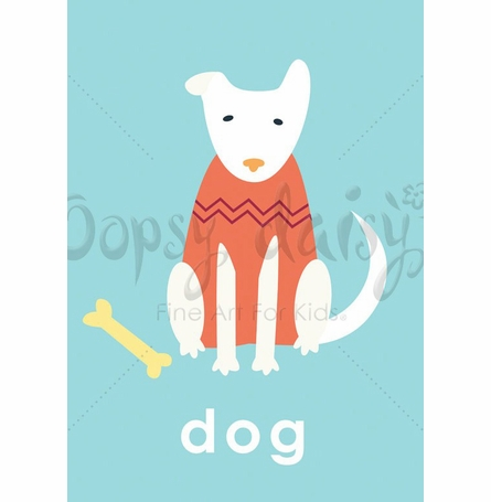 Lovely Dog in Blue Canvas Wall Art