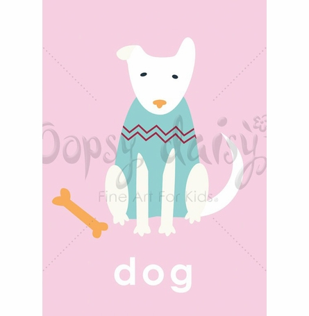 Lovely Dog in Pink Canvas Wall Art