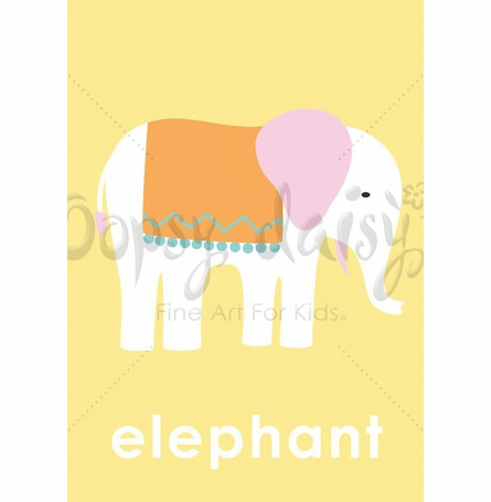 Lovely Elephant in Yellow Canvas Wall Art