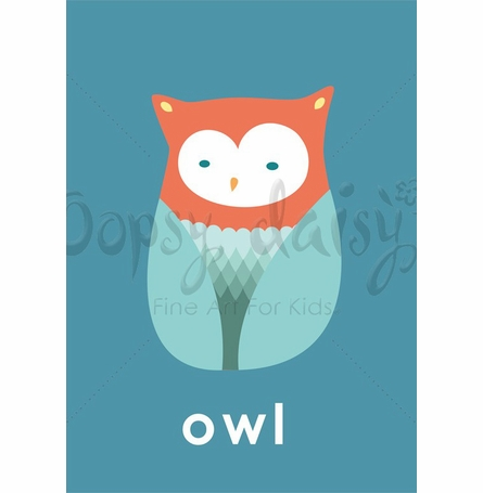 Lovely Owl in Teal Canvas Wall Art