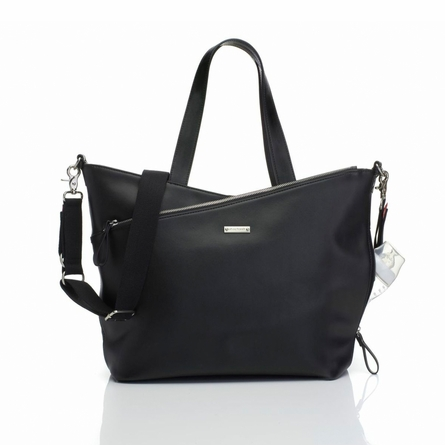 Lucinda Leather Diaper Bag in Black