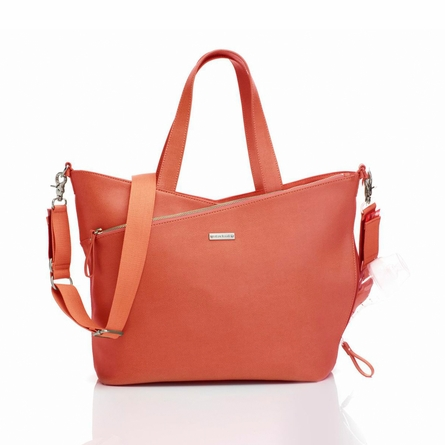 Lucinda Leather Diaper Bag in Sunset Orange