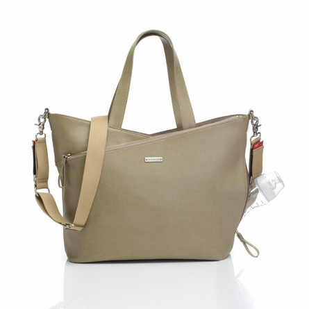 Lucinda Leather Diaper Bag in Taupe