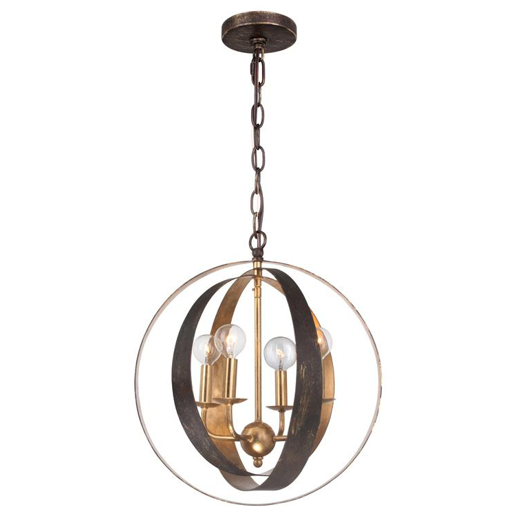 Luna Four Light Bronze & Gold Sphere Chandelier by Crystorama