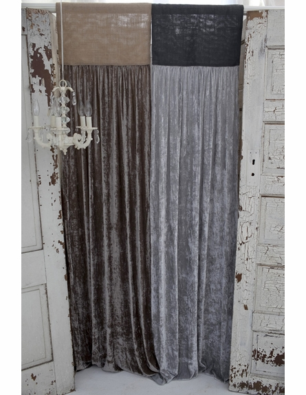 Luscious Platinum Silk Velvet with Slate Grey Jute Header Window Curtain