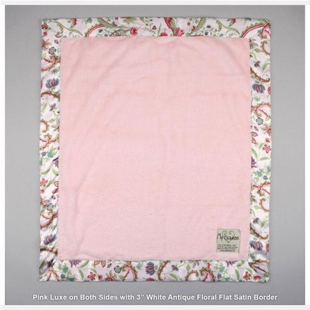 Luxe Baby Blanket with Cream Antique Floral Satin Trim