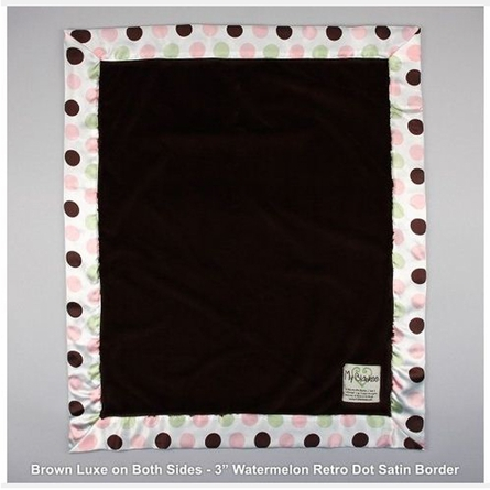 Luxe Baby Blanket with Watermelon Retro Dot Satin Trim