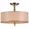 Luxo Three Light Brass Drum Shade Chandelier