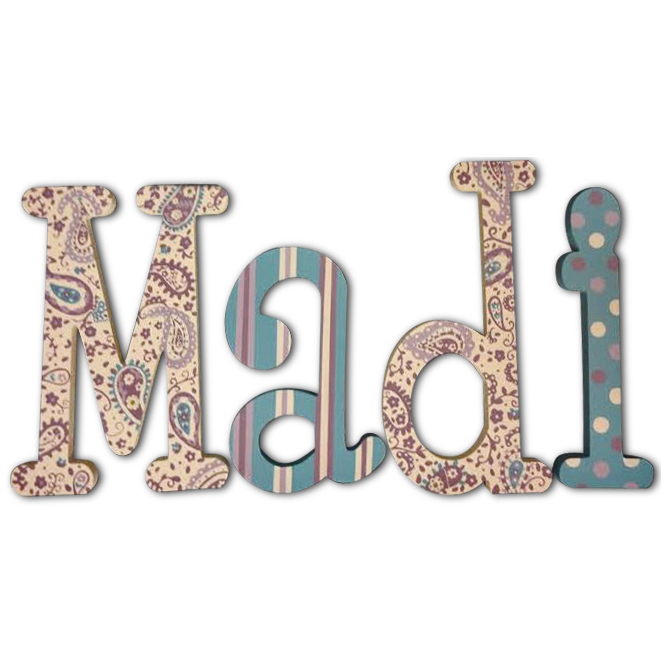Madi Purple Paisley Hand Painted Wall Letters