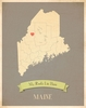 Maine My Roots State Map Art Print - Blue