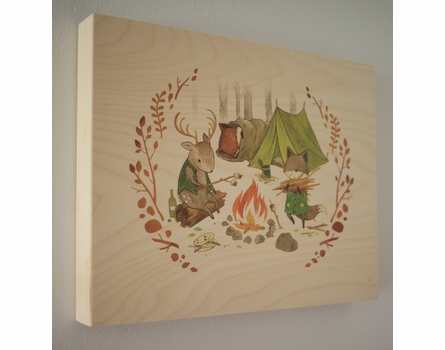 Making a Campfire Wood Panel Art Print