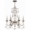 Malibu English Bronze and Ivory Crystal Chandelier