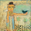 Man With Bird Small Vintage Canvas Print on Wood