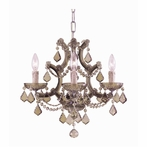 Maria Theresa Four Light Golden Teak Crystal Brass Mini Chandelier