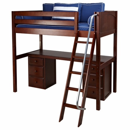 Marlowe High Loft Bed with Pedestal Desk
