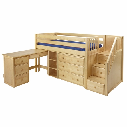 Marlowe Low Loft Bed with Dresser, Bookcase, Desk and Staircase
