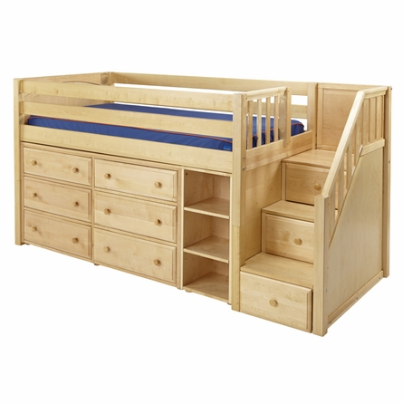 Marlowe Low Loft Bed with Dressers, Bookcase and Staircase
