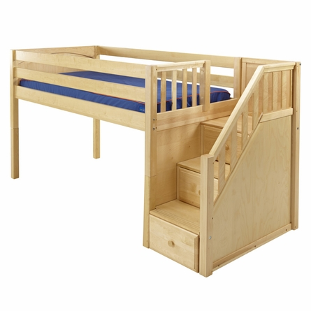 Marlowe Low Loft Bed with Staircase