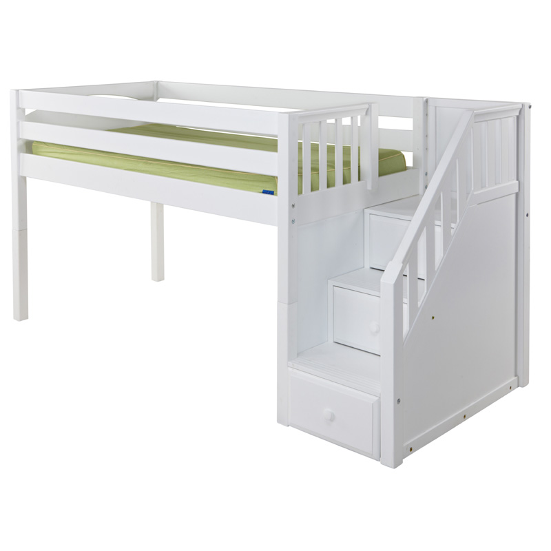 Great Low Loft Bed with Staircase - RosenberryRooms.com
