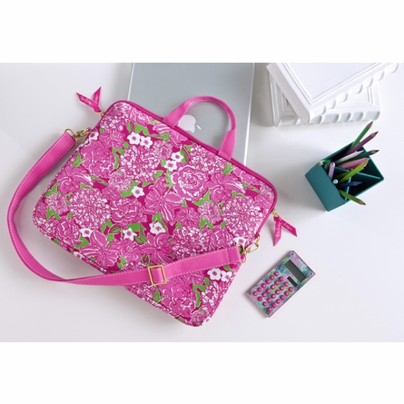 May Flowers Laptop Tote with Shoulder Strap