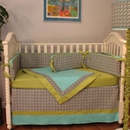 Maze Black Crib Bedding