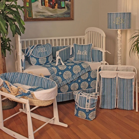 Medallion Blue Crib Bedding Set