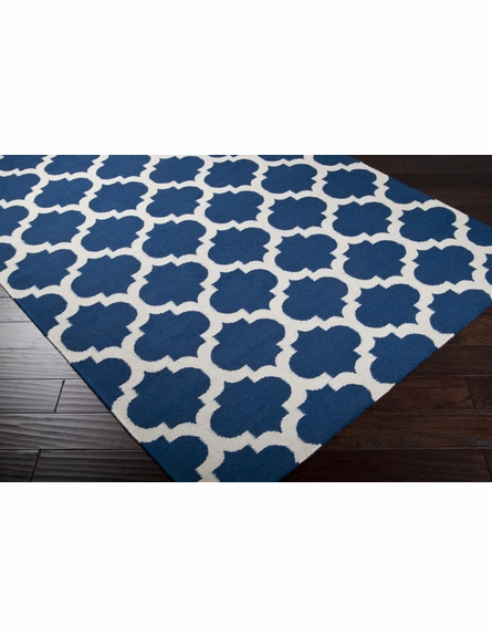 Mediterranean Blue and White Trellis Frontier Rug