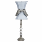 Medium Pewter Three Glass Ball Lamp Base with Blue Hourglass Shade and Pewter Sash