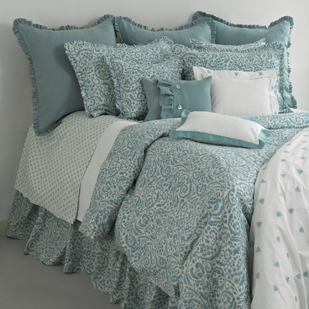 Mel Cotton Percale Pillow Sham in White and Teal