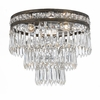 Mercer Three Light Clear Crystal Bronze Flush Mount