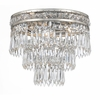 Mercer Three Light Clear Crystal Silver Flush Mount