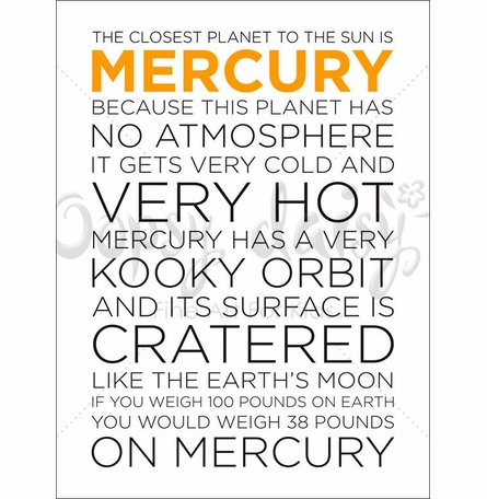 Mercury Facts Canvas Wall Art