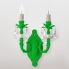 Mercury Neon Green Clear Crystal Double Wall Sconce