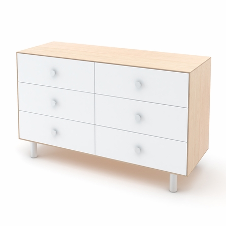 Classic 6 Drawer Dresser in Birch and White