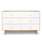 Rhea 6 Drawer Dresser in Birch and White
