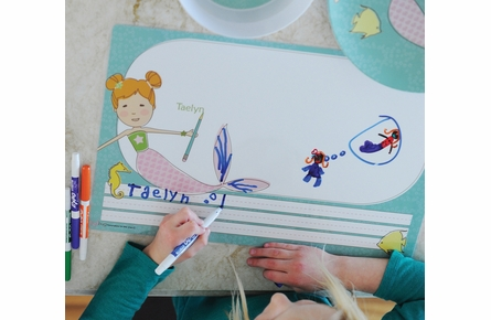 Mermaid Miss Ginger Personalized Kids Reversible Placemat