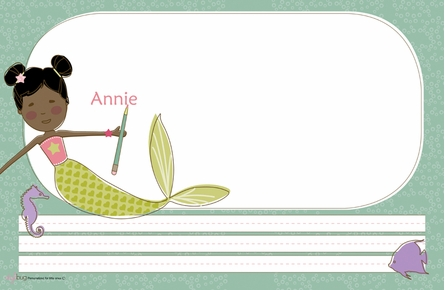 Mermaid Miss Midnight Personalized Kids Reversible Placemat