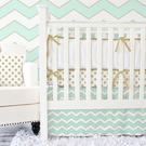 Metallic Mint Chevron Crib Bedding Set