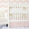 Metallic Coral Chevron Crib Bedding Set