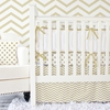 Metallic Gold Chevron Crib Bedding Set