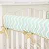 Metallic Mint Chevron Crib Rail Cover
