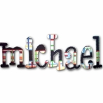 Michael Plaid Hand Painted Wall Letters
