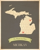 Michigan My Roots State Map Art Print - Blue