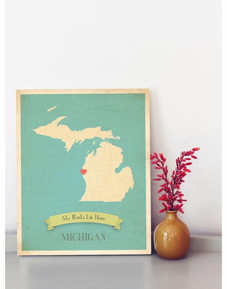 Michigan My Roots State Map Art Print