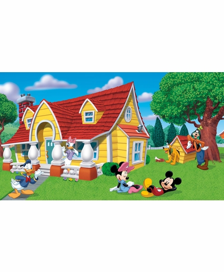 Mickey & Friends Chair Rail Prepasted Wall Mural