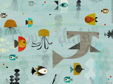 Mid-Century Aquatic Canvas Wall Art