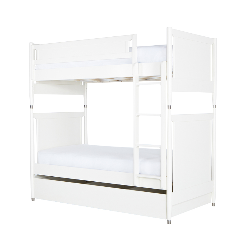 White Twin Bunk Bed with Trundle 800 x 800