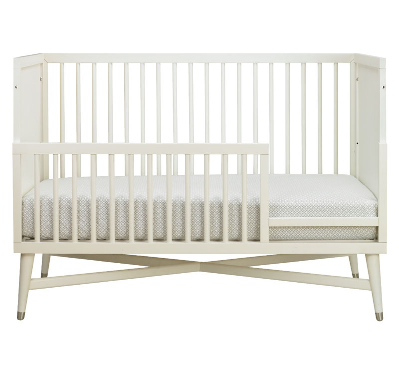 mid century convertible crib in french white by dwellstudio