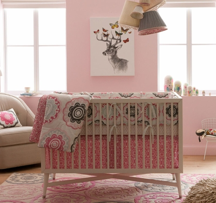 Mid-Century Crib in French White