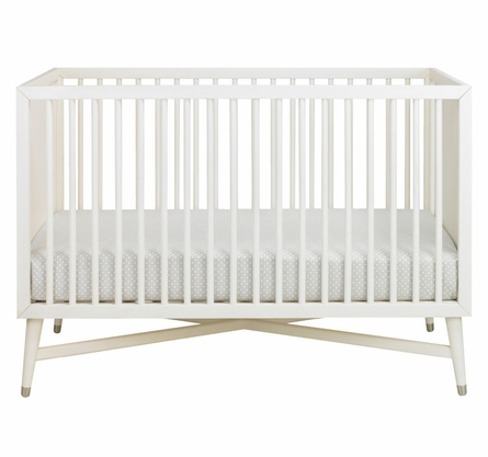 Mid-Century Convertible Crib in French White